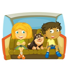 Children and dog sitting in the car vector