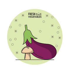 Colorful poster of fresh vegetables with eggplant vector