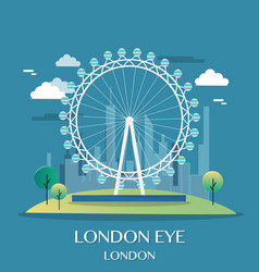 famous london landmark london eye vector image vector image