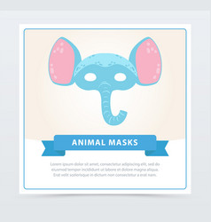 Funny animal face of blue elephant with big ears vector