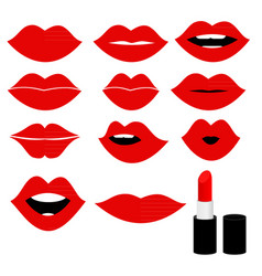 Girl mouths close up with red lipstick make up vector