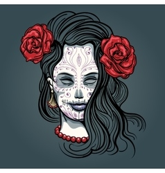 Girl with sugar skull makeup vector