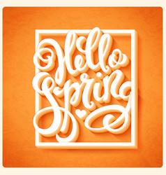 hello spring poster vector image vector image