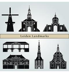 Leiden landmarks and monuments vector