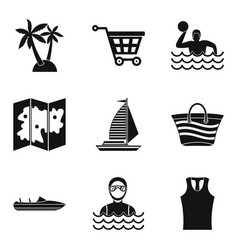 map of beach icons set simple style vector image