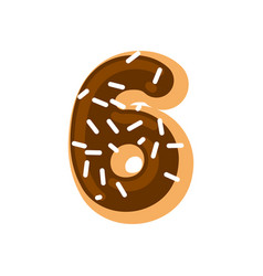 Number 6 donut doughnut font six sweet alphabet vector