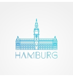 One line minimalist icon of german hamburg vector