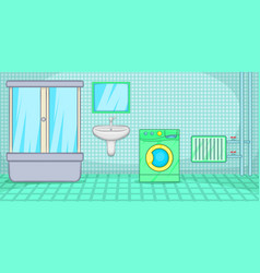 Plumber horizontal banner bathroom cartoon style vector