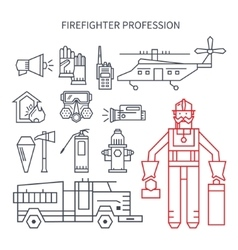 Profession fireman line set of icons vector