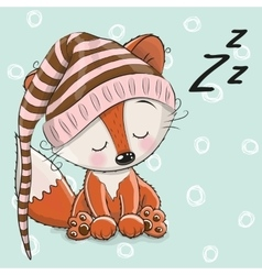 Sleeping cute fox vector