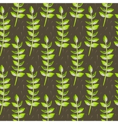 Spring wild flower leaves field seamless pattern vector