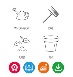 sprout plant watering can and pot icons vector image vector image