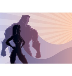 Superhero Couple 3 vector image vector image