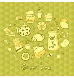 Tea and sweets icons set vector image vector image