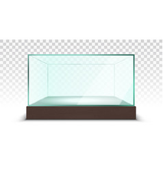 transparent empty glass box showcase vector image