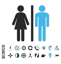 Wc persons flat icon with bonus vector