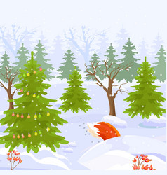 winter forest view background cartoon style vector image