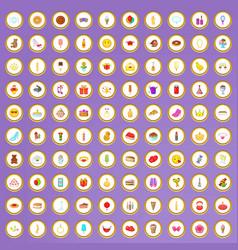 100 birthday icons set in cartoon style vector image
