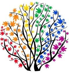 Rainbow tree in the shape of a circle vector