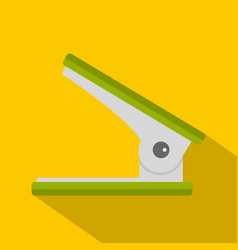 Green office hole punch icon flat style vector