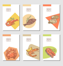 Hand drawn sea food cards brochure design vector