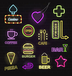 Light neon light hotels and restaurants promotion vector