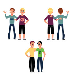 Male friendship concept couple of boys friends vector