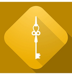 Icon of key with a long shadow vector