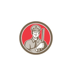 Policeman with night stick baton circle retro vector