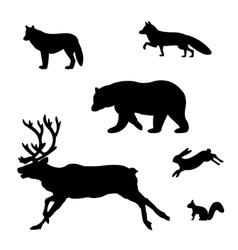 Set of silhouettes of wild animals vector