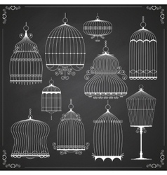 Set of silhouettes of birdcages vector