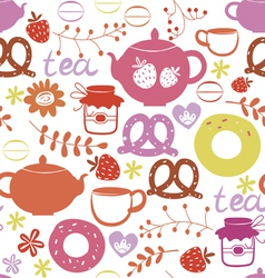 Tea with sweets seamless pattern vector