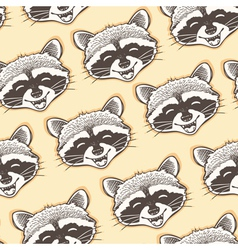 Seamless pattern with head of a happy raccoon vector