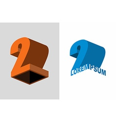 Logo number two 3d figures design template vector