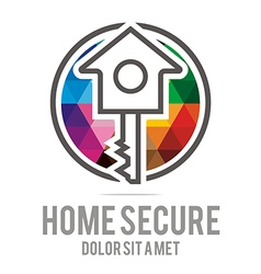 Logo home key house lock security buiding icon vector