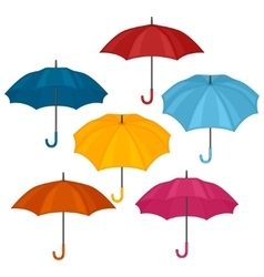 Set of abstract color umbrellas on white vector