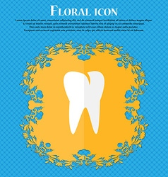 Tooth icon floral flat design on a blue abstract vector
