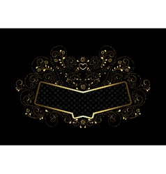 Gold frame in gold openwork floral framing vector