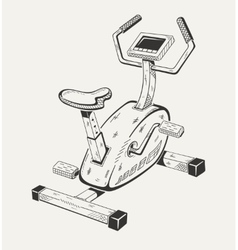 Exercise bike sport equipment vector