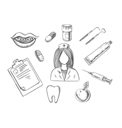 Dental sketch icons with medical items vector