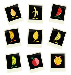 Fruit on photo frame color vector