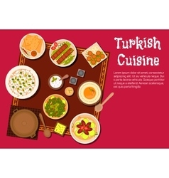 Turkish cuisine food and desserts vector