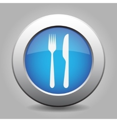 Blue metal button with cutlery vector