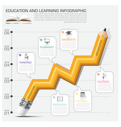 Education and learning infographic pencil graph vector