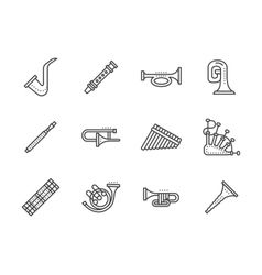 Wind musical instruments black line icons vector