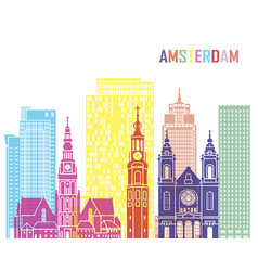 Amsterdam v2 skyline pop vector