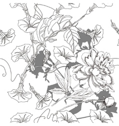 Black and white seamless pattern with flowers-04 vector image