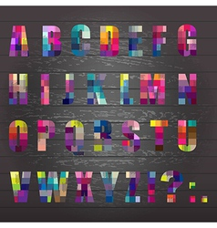 Black Wooden Background With Alphabet vector image