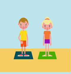 boy and girl got ready for the physical exercises vector image vector image