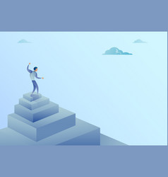 Business man standing on stairs top finance growth vector